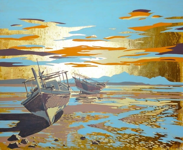 Arabian Dhows on Gold Leaf
