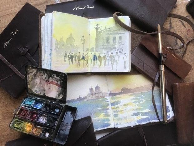 Artists leather bound sketchbooks