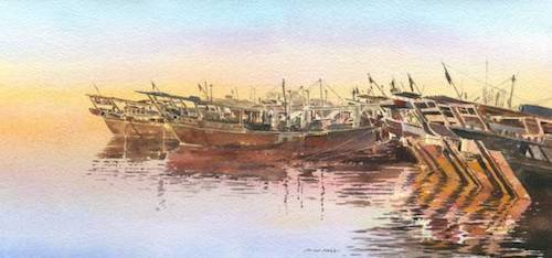 Dhows Kuwait, Calm Waters .jpeg
