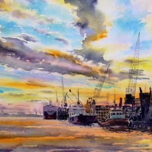 River Tyne Watercolour Print Newcastle