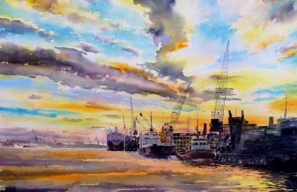 River Tyne Watercolour Print Newcastle